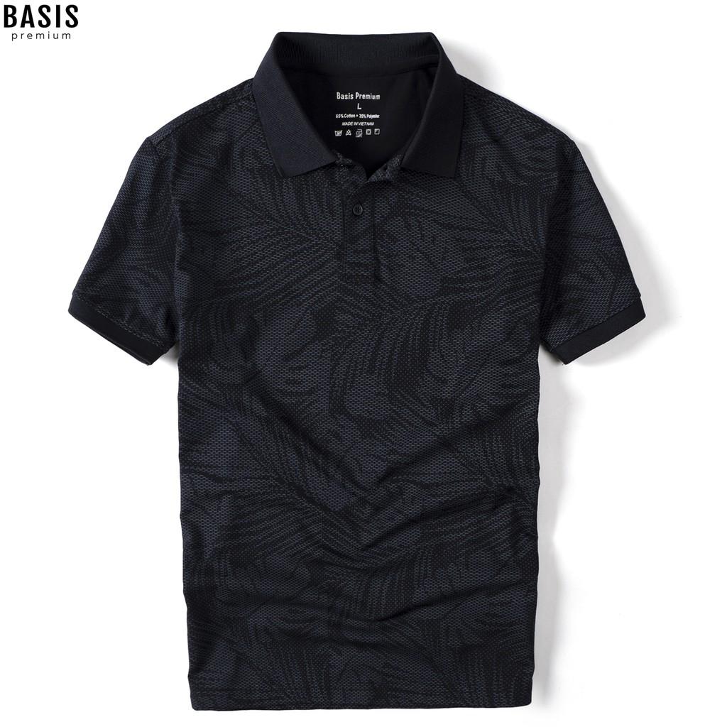 Áo thun polo nam họa tiết lá cọ in chìm tinh xảo trên nền vải single, Basis APL101