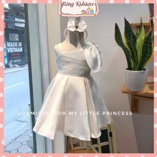 Váy bé gái dáng công chúa lệch vai, váy bé gái cách điệu dáng xòe kèm nơ xinh xắn - SP000425
