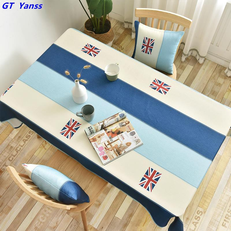 Mediterranean style tablecloth cotton blue and white striped