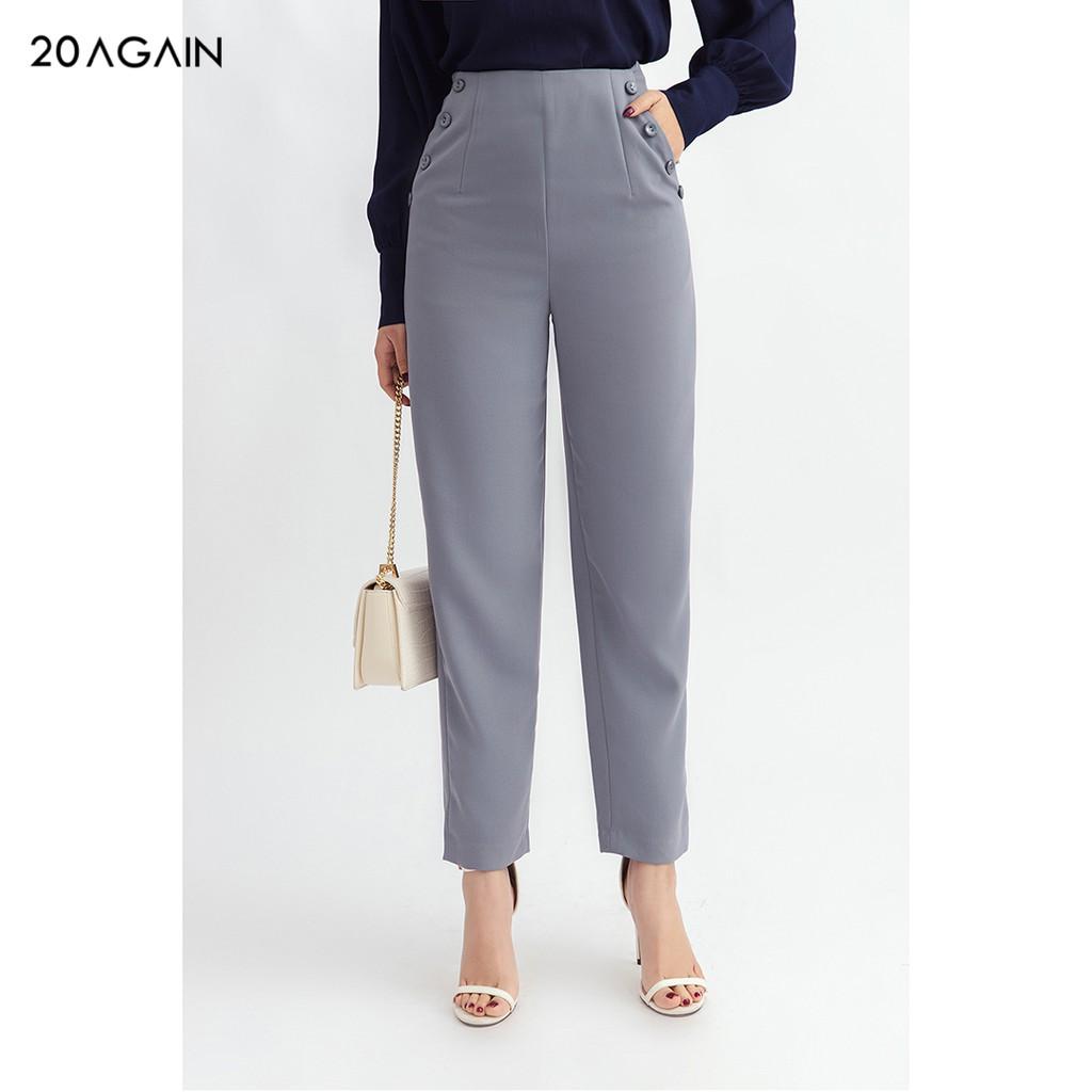 Quần baggy nữ 20AGAIN đủ màu, đủ size, túi đính cúc QAA0986 thumbnail