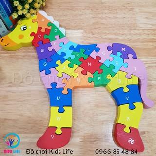 Ghép hình 2 mặt chữ và số tư duy logic hình con ngựa