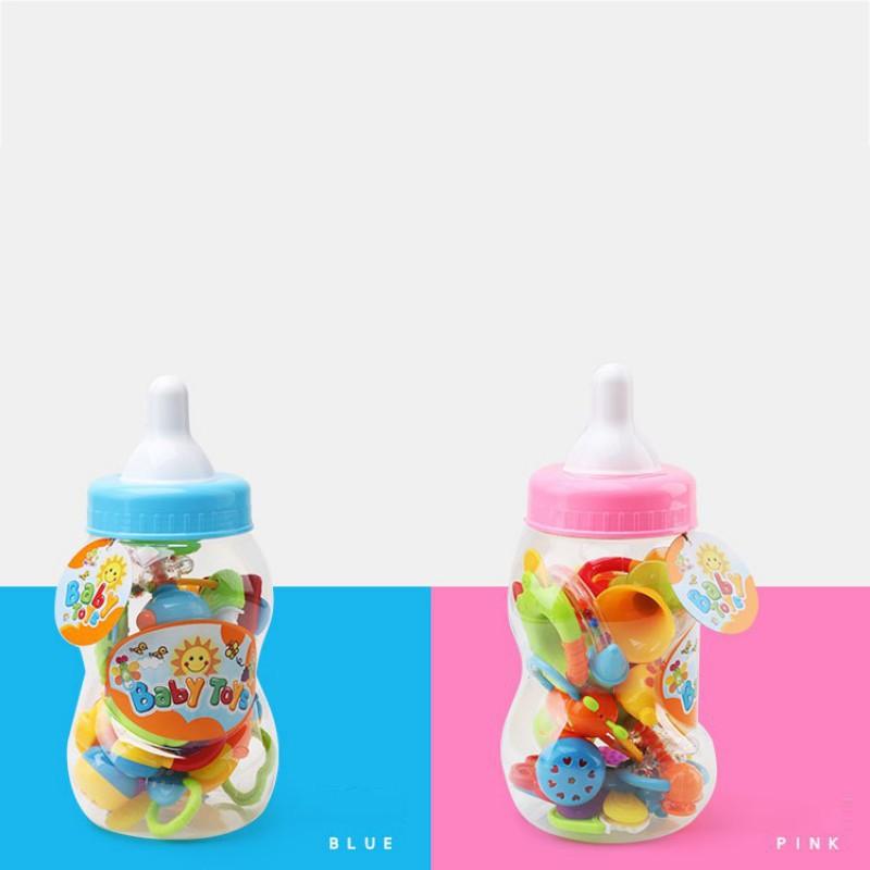 9Pcs Infant Baby Gift Toy Set Rattle Teether Toy Grasp Toys Milk Bottle