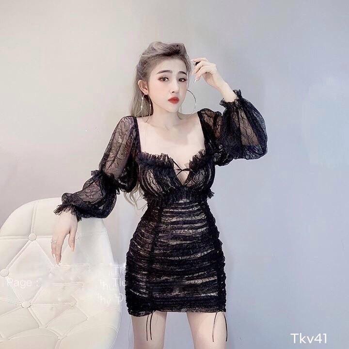 Váy đầm nữ dự tiệc chất ren nhúm eo tay phồng Amee