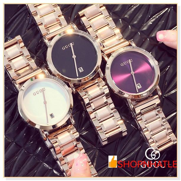 (TẶNG HỘP + PIN CAO CẤP+MÓC KHÓA) Đồng hồ nữ chính hãng GUOU 8127 dây thép không gỉ