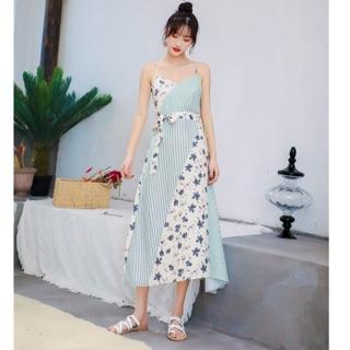 Đầm 2 dây thiết kế pha màu vải cực kỳ xinh sang chảnh