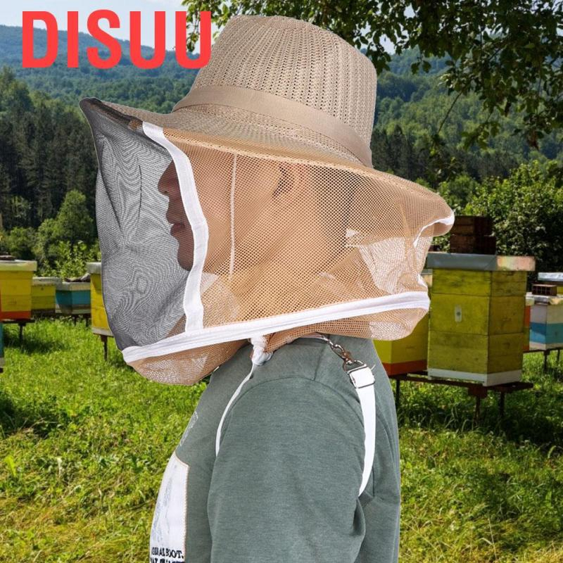 Disuu Outdoor Beekeeper Cowboy Hat Breathable Fireproof Beekeeping Veil Cap Face Head Protector