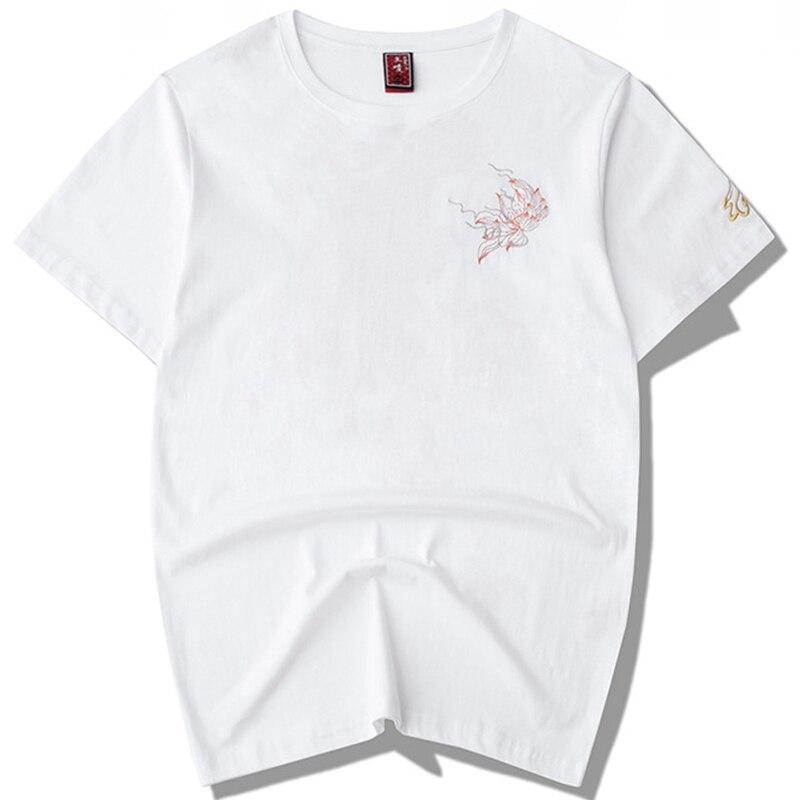 Áo Thun Cotton Ngắn Tay Thêu Hình Rồng Trung Hoa Cho Nam