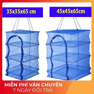 [XẢ HÀNG] Lồng lưới phơi khô thực phẩm phơi cá chống côn trùng treo 4 tầng để phơi cá khô có thể xếp gọn