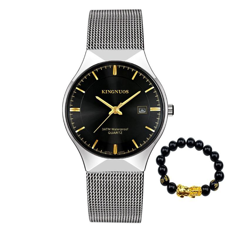 Đồng hồ nam KINGNUOS japan K6699 dây thép mành cao cấp (2 màu mặt) + Tặng vòng tay cao cấp