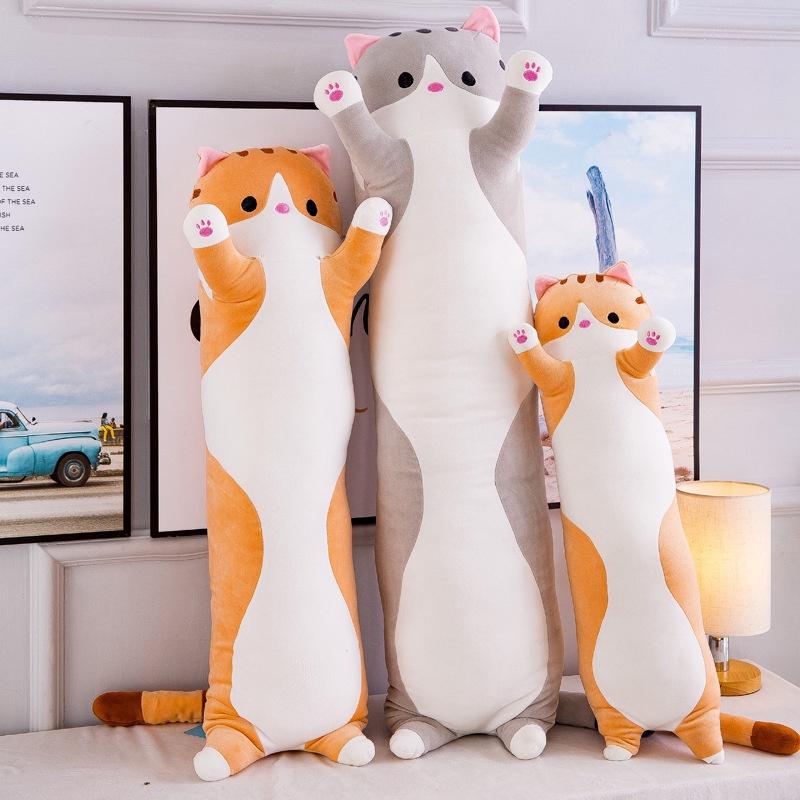 Gối ôm gấu bông mèo Husky mềm mịn bông tuyết kích thước 1m5