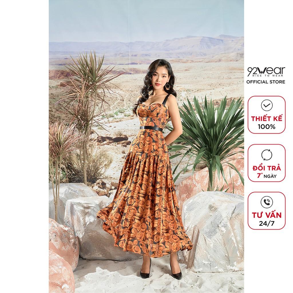 Đầm maxi dài cúp ngực 92WEAR thiết kế 2 dây quyến rũ, tôn dáng phái nữ DMC0083 thumbnail