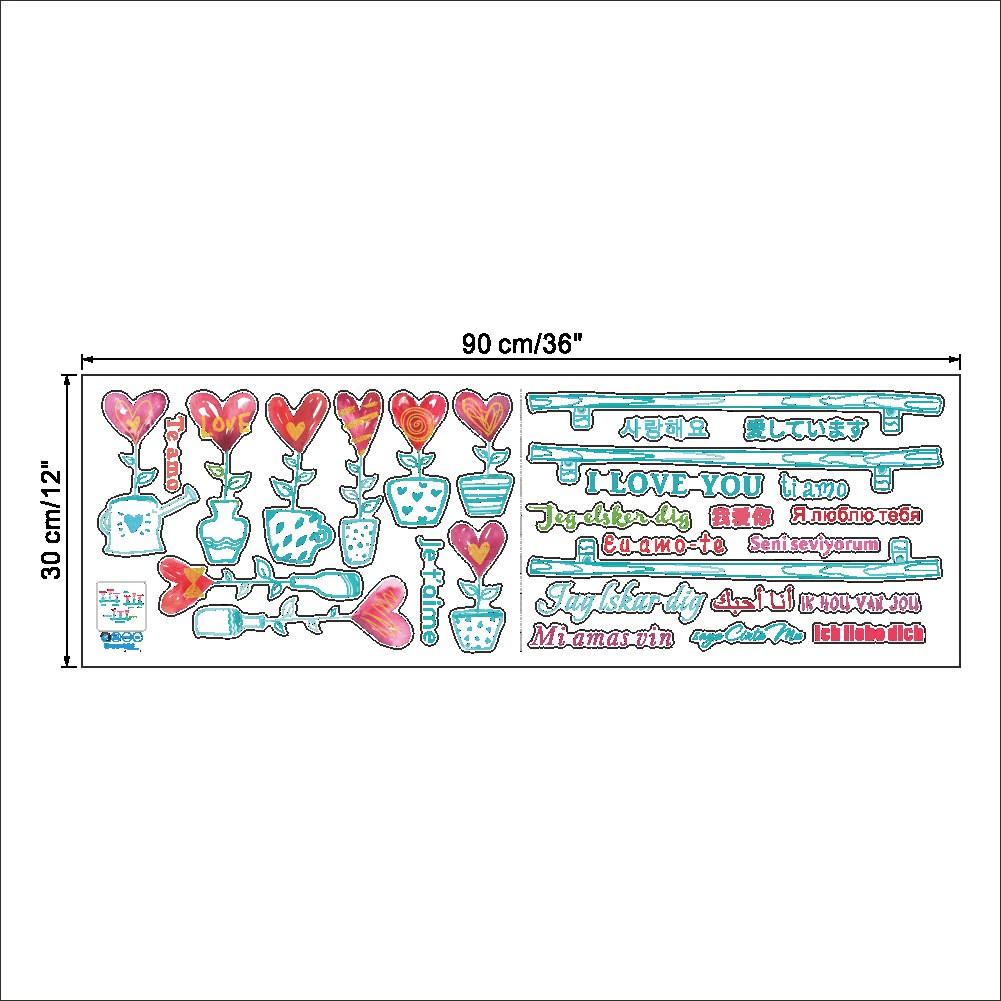 I Love You Je t'aime Ti amo Я ЛЮБЛЮ ТЕБЯ 사랑해 Language Wall Sticker