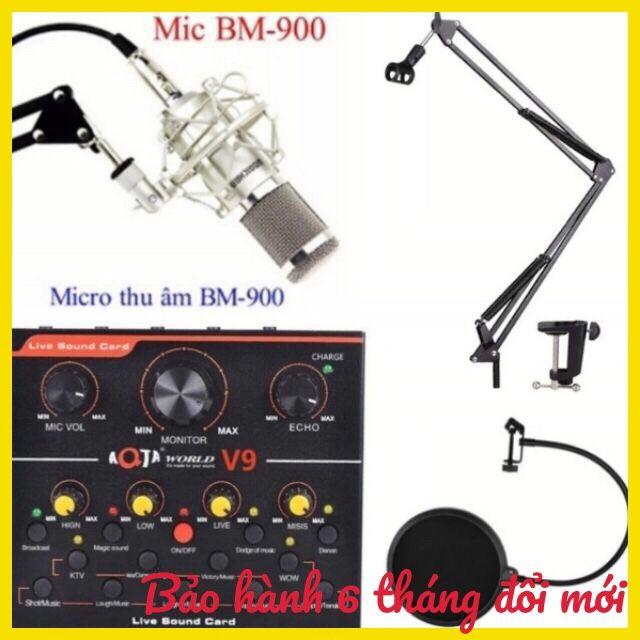 Combo thu âm livestream micro woaichang BM900 card V9 chân màng lọc âm