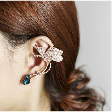 Khuyên tai hình con bướm đính ngọc vàng (1 chiếc)