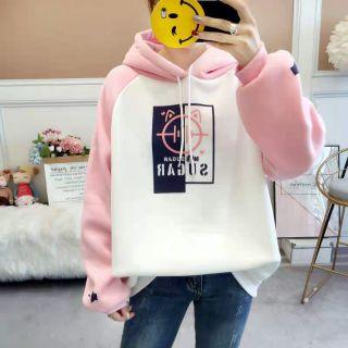 Combo 2 áo nỉ hồng trắng thumbnail