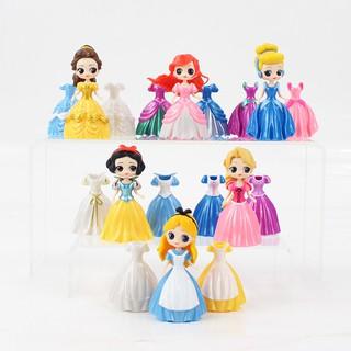 Đồ chơi 6 búp bê công chúa Disney thay váy