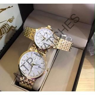 Cặp đồng hồ nam nữ Baishuns vàng kim có lịch -MTP WATCHES thumbnail