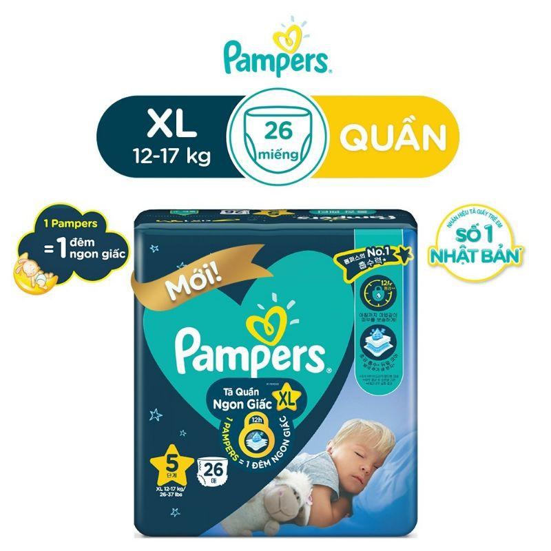 Tã quần Pampers ngon giấc size L30, XL26, XXL22