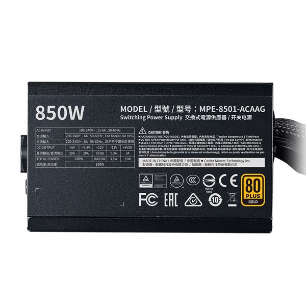 Nguồn máy tính Cooler Master MWE GOLD V2 FM 850W ( 80 Plus Gold/Màu Đen/Full Modular)