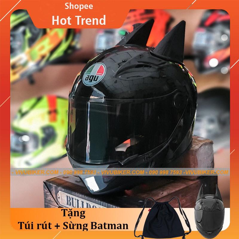 Mũ bảo hiểm Fullface Đen Bóng AGU kính đen kèm Sừng BATMAN cực ngầu - Nón fullface chính hãng bảo hành 12th