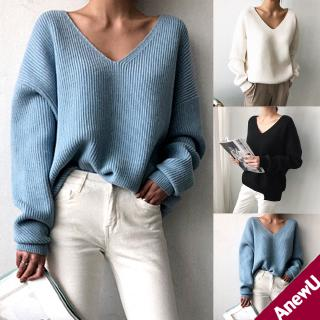 Autumn Winter Basic Knitted Sweater Women Casual V-neck Pullovers Long Sleeve Jumpers