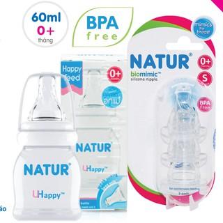 Combo Bình sữa Natur Uhappy 60m 120ml 240ml Núm Biomimic Size S M L - Bộ 3 cái