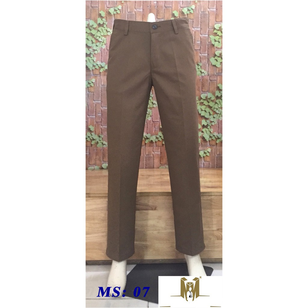 quần kaki trung niên ống rộng ms qk07 màu cacao