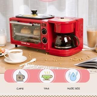 Lò nướng bánh đa chức năng kèm Bình pha caffe 650 ml và chảo chống dính Tặng bộ dụng cụ, găng tay, khay nướng bánh