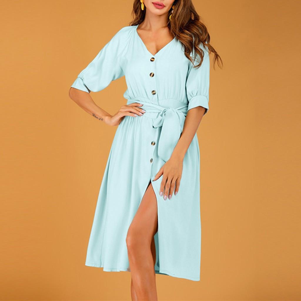 *^o^* 【Bestmeeet】Summer Women Summer Fashion Button V Neck Short Sleeve Dress