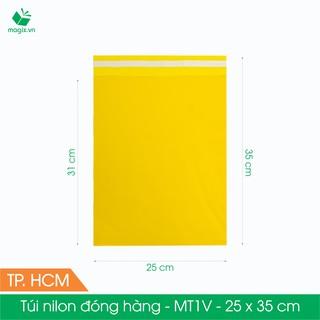 MT1V - 25x35 cm - Túi nilon gói hàng - 100 túi niêm phong đóng hàng màu vàng thumbnail