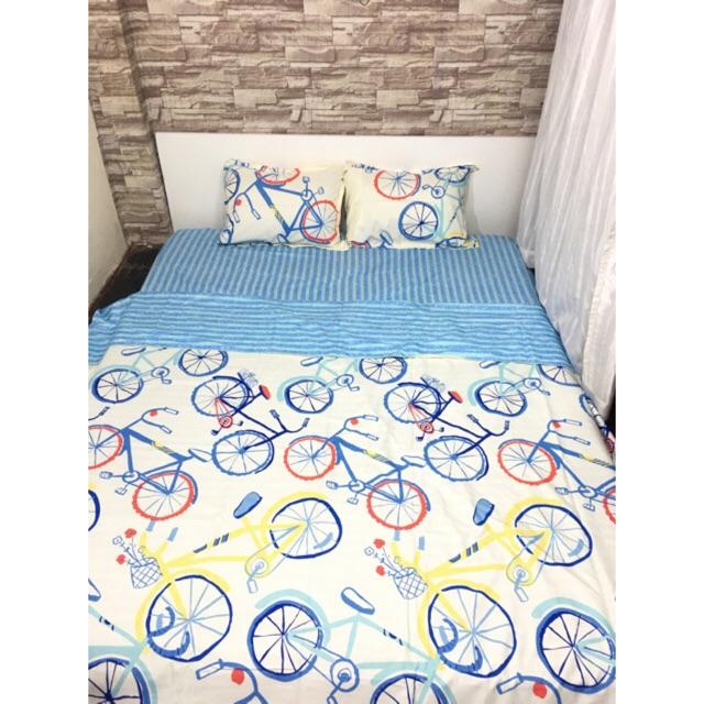 Bộ drap cotton poly gồm: drap, 2 vỏ nằm, 1 vỏ chăn