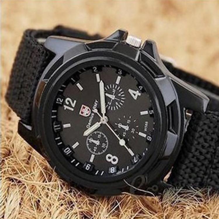 Đồng hồ nam Gemius Army kiểu dáng quân đội dây dù siêu bền (ĐEN)