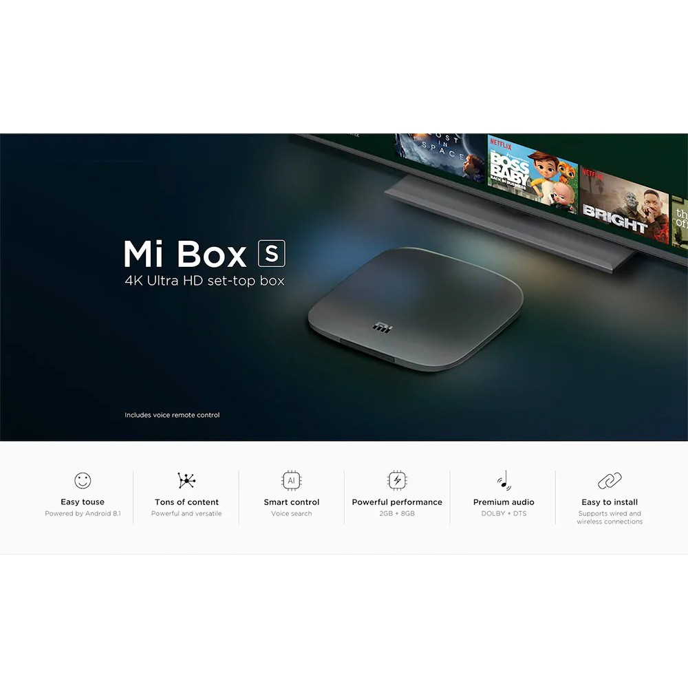 Review android tivi box xiaomi mibox s 4k global quốc tế (android 8.1)