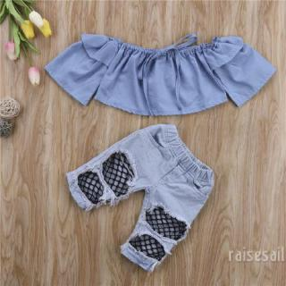 Rs♪-Kids Baby Girls Crop Tops+Denim Pants Set*