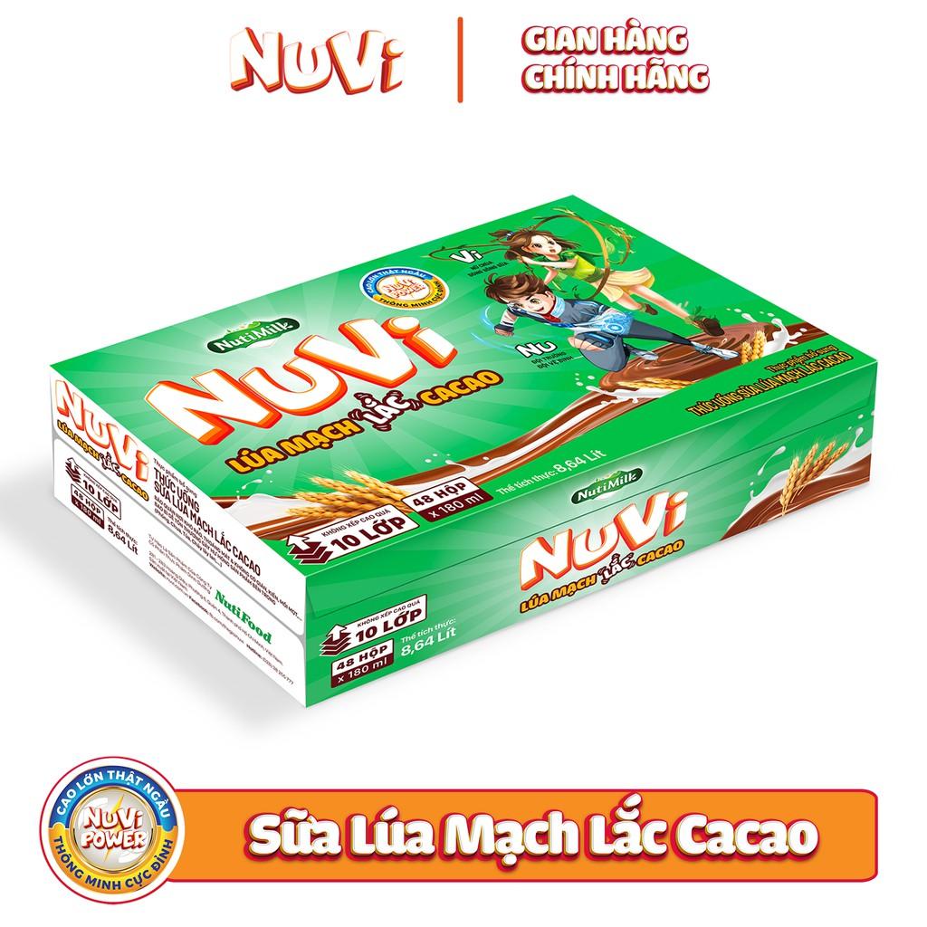 Thùng 48 hộp NuVi Cacao Lúa Mạch 180ml/hộp