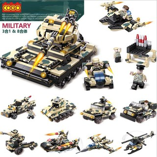 [SIÊU KM] Bộ đồ chơi xếp hình Lego xe tăng quân đội 8 trong 1 [LOẠI 1]