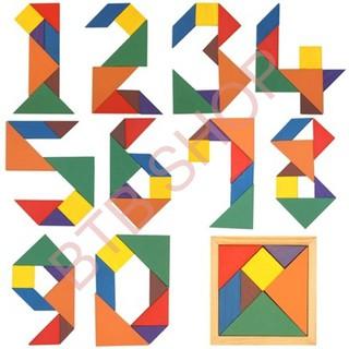 [GIÁ SỐC] Bộ ghép trò chơi trí uẩn – ghép hình gỗ thông minh – Đồ chơi tangram gỗ an toàn