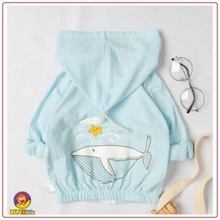 Áo khoác gió trẻ em hình cá voi dễ thương, áo khoác chống nắng cho bé trai và bé gái