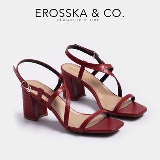 Giày sandal cao gót Erosska mũi vuông phối quai dây mảnh, hoạ tiết da rắn nổi bật cao 7cm màu đỏ đô  _ EM034