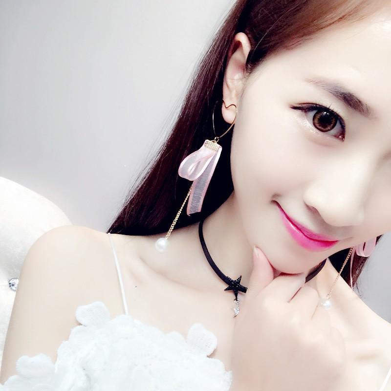 Bông tai nơ ngọc trai nữ GADn4wet| Khuyên tai ngọc trai dài kiểu mới Hàn Quốc