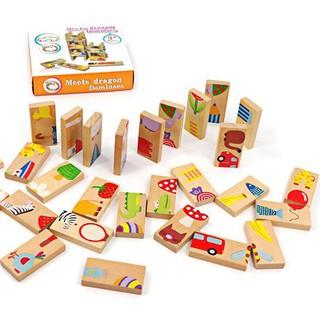 Đồ chơi Bộ 28 thẻ gỗ đa năng xếp hình chơi rút gỗ chơi Domino EHK_T3