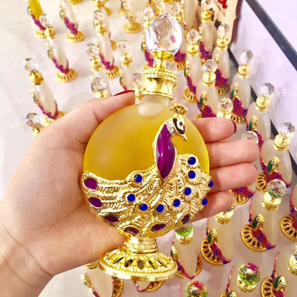 Vỏ Chai lọ chiết đựng tinh dầu Dubai hình chim công màu vàng, hồng, xanh  30ml (chai chiết, lọ chiết) | Shopee Việt Nam