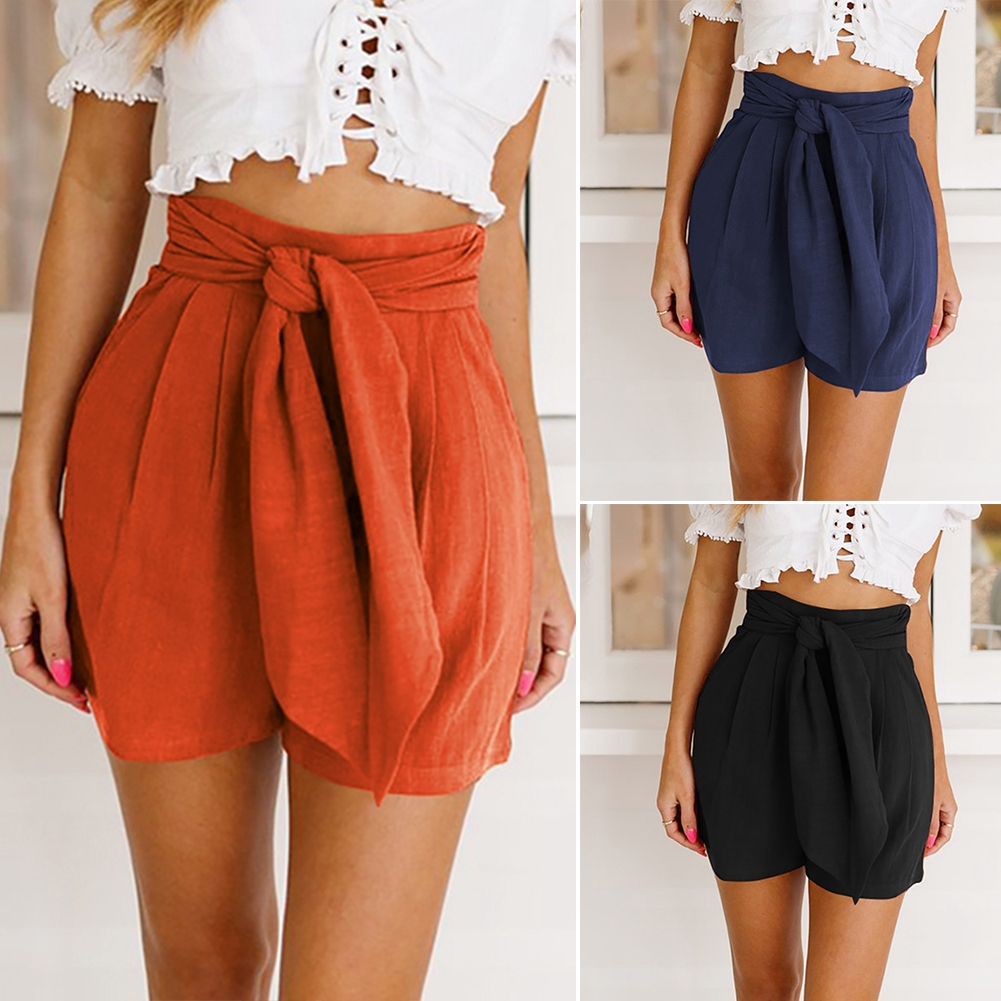Straight Loose High Waist Wide Leg Bandage Summer With Pockets Retro Casual Solid Women Shorts