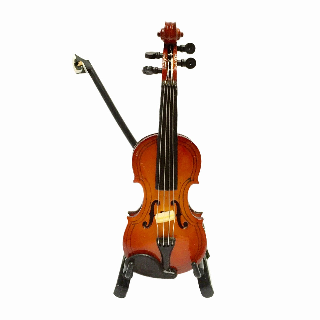 1/12 Dolls House Miniature Musical Instrument Wooden Violin with Case Stand