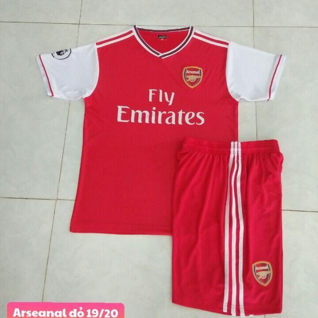 Quần áo bóng đá size trẻ em Arsenal đỏ