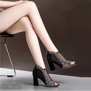 Giày sandal nữ đẹp Rosata lượn sóng lưới đen RO152 thumbnail