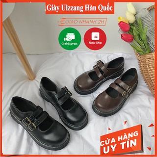 Giày nữ ulzzang 2 quai da hàn quốc cao cấp đế vuông