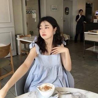 Set Style Hàn Quốc-Set Áo Babydoll Hai Dây Thắt Nơ Kẻ Xanh Và Quần Short Trắng Cực Xinh thumbnail