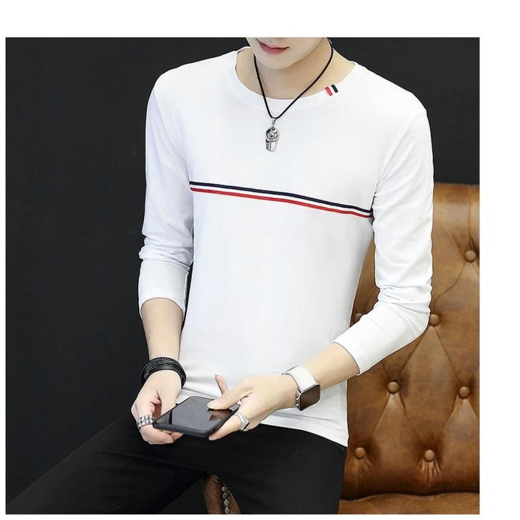 VK เสื้อยืดคอกลม แขนยาว ผ้าคอตต้อนเนื้อนุ่ม แต่งแถบเส้นที่หน้าอก (สีขาว) รุ่น 0992K เสื้อยืดคอกลม แขนยาว ผ้าคอตต้อนเนื้อ