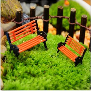 Mini Garden Ornament Miniature Park Bench Craft Fairy Dollhouse Decor Outdoor